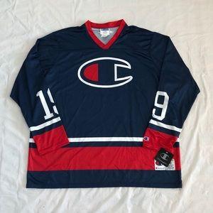 NWT Champion Big Logo Long Sleeve Hockey Jersey
